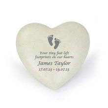 Load image into Gallery viewer, Personalised Footprints Heart Memorial