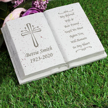 Load image into Gallery viewer, Personalised Book Memorial Grave Marker - Cross Design