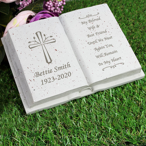 Personalised Book Memorial Grave Marker - Cross Design