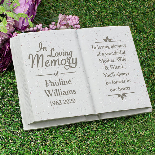 Personalised Book Memorial Grave Marker - In Loving Memory