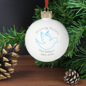 Personalised 'In Loving Memory' Christmas Bauble - Blue Dove