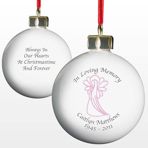 Personalised 'In Loving Memory' Christmas Bauble - Pink Angel - front and back
