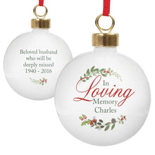 Load image into Gallery viewer, Personalised 'In Loving Memory' Christmas Bauble - Wreath