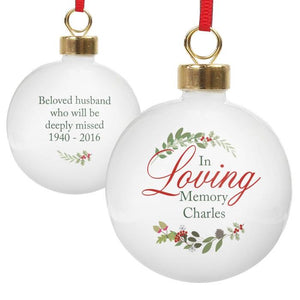 You added Personalised 'In Loving Memory' Christmas Bauble - Wreath to your cart.