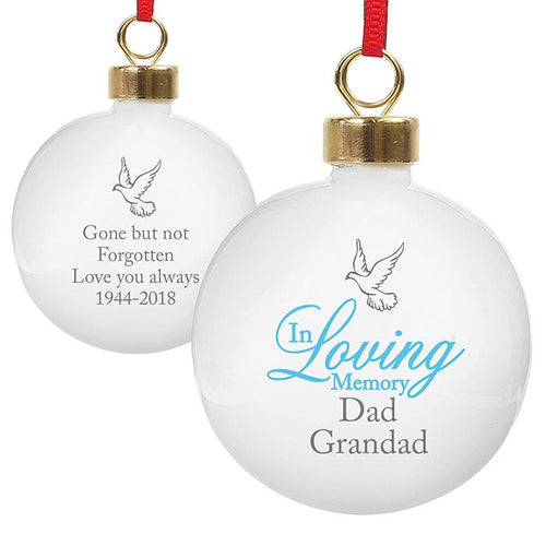 Personalised 'In Loving Memory' Christmas Bauble - Blue
