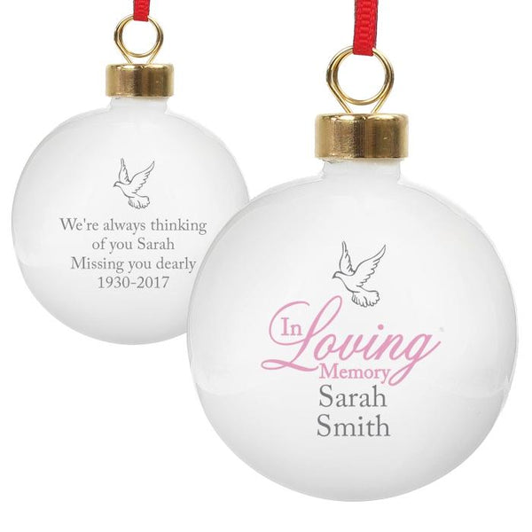Personalised 'In Loving Memory' Christmas Bauble - Pink
