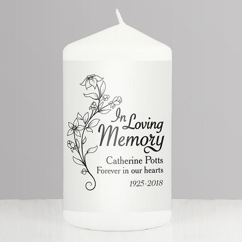 Personalised Pillar Candle, White, 'In Loving Memory', Floral Motif