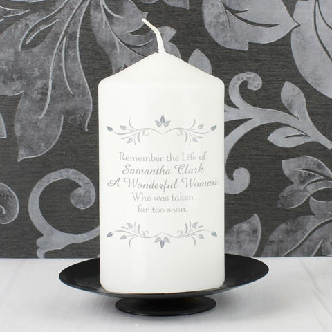 Personalised Sentiments Pillar Candle - Your Message