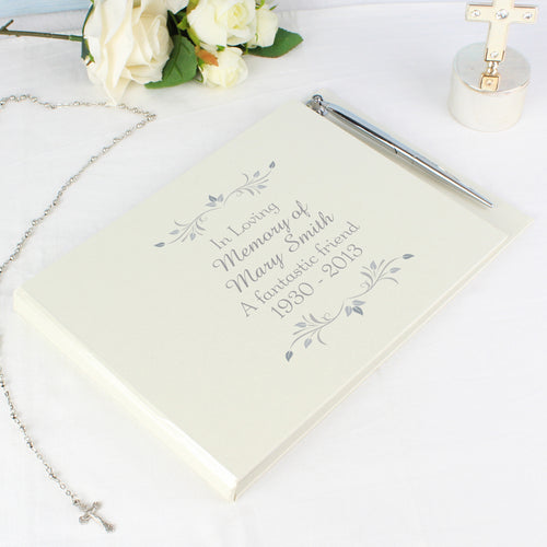 Personalised Sentiments Remembrance Guest Book & Pen