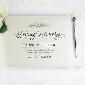Personalised In Loving Memory Guest Book & Pen