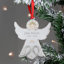 Load image into Gallery viewer, Personalised Angel Face Christmas Tree Decoration