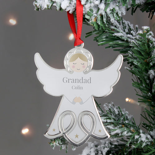 Personalised Angel Face Christmas Tree Decoration