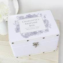 Load image into Gallery viewer, Personalised White Leatherette Watercolour Floral Keepsake Box - Any Message