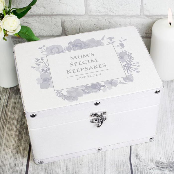 Personalised White Leatherette Watercolour Floral Keepsake Box - Any Message