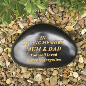 Black & Gold Outdoor Memorial Pebble - Mum & Dad