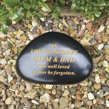 Load image into Gallery viewer, Black & Gold Outdoor Memorial Pebble - Mum & Dad