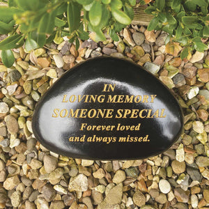 Outdoor Memorial Pebble. Black & Gold. 'In Loving Memory - Someone Special'