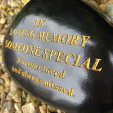 Load image into Gallery viewer, Outdoor Memorial Pebble. Black & Gold. 'In Loving Memory - Someone Special'