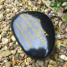 Load image into Gallery viewer, Outdoor Memorial Pebble. Black & Gold. 'In Memory of Someone Special'