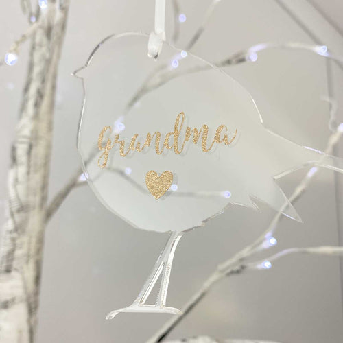 Personalised Memorial Christmas Robin decoration. Clear acrylic. 'Grandma's Robin' example.