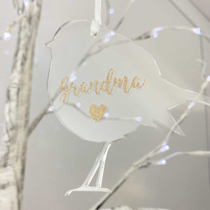 You added Personalised Memorial Robin Decoration. Clear Acrylic with Gold Name. to your cart.