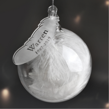 Load image into Gallery viewer, Personalised White Feather Name & Date Glass Bauble