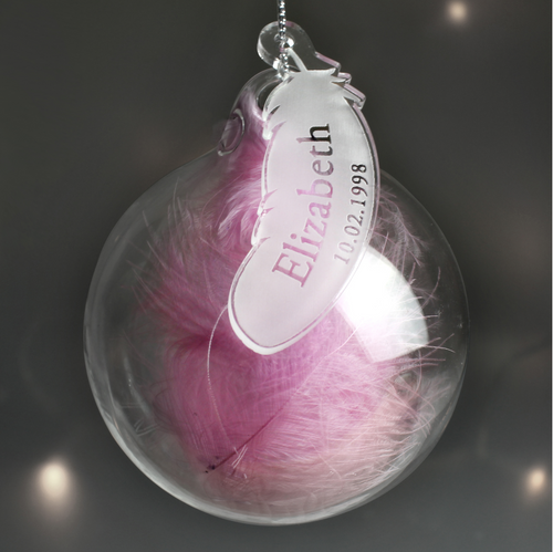 Personalised Pink Feather Name & Date Glass Bauble