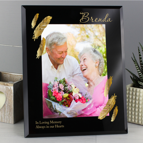 Personalised Golden Feather 7x5 Black Glass Photo Frame