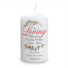 Load image into Gallery viewer, Personalised In Loving Memory Wreath Candle