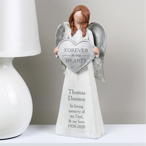 Personalised Forever In Our Hearts Memorial Angel Ornament