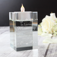 Load image into Gallery viewer, In Loving Memory Sentiments Tea Light Candle Holder