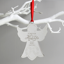 Load image into Gallery viewer, Forever In Our Hearts Personalised Angel Christmas Tree Decoration