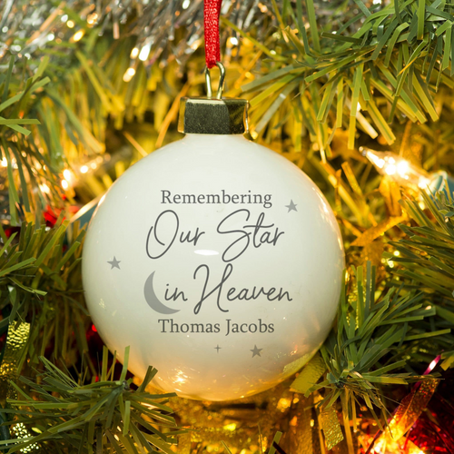 Personalised Christmas Bauble - 'Our Star In Heaven'