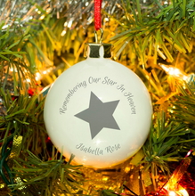 Load image into Gallery viewer, Personalised 'Our Star In Heaven' Christmas Bauble - Grey