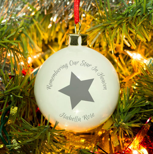 Personalised 'Our Star In Heaven' Christmas Bauble - Grey