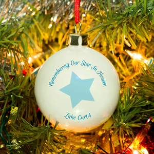 You added Personalised 'Our Star In Heaven' Christmas Bauble - Blue to your cart.
