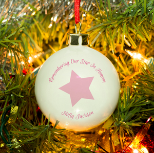 Personalised 'Our Star In Heaven' Christmas Bauble - Pink