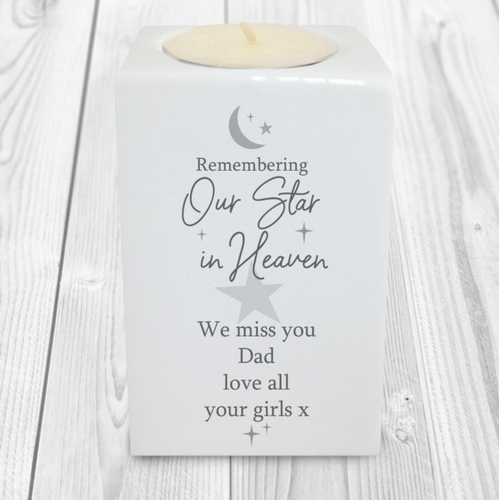 Personalised 'Our Star In Heaven' Ceramic Candle Holder