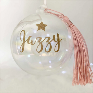 Personalised 'Any Name' Iridescent Glass Bauble