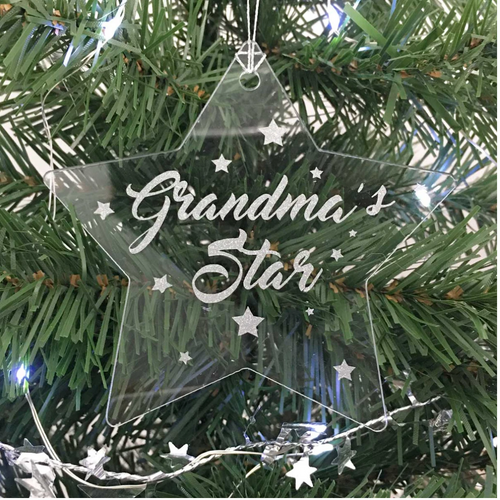 Personalised Memorial Christmas Star decoration. Clear acrylic. 'Grandma's Star' example.