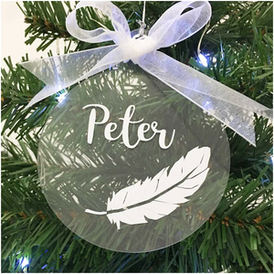 Personalised Memorial Christmas Tree Decoration, Clear Acrylic Hanging Bauble, White Feather and Name.