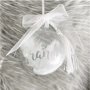 Personalised Feather Filled Glass Memorial Bauble