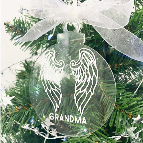 Personalised Memorial Decoration. Clear Acrylic Bauble. Topped with white gauze bow. On Christmas Tree.