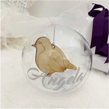 Load image into Gallery viewer, Personalised Wooden Hanging Robin Bauble