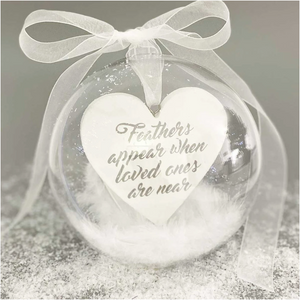 "Personalised ""Feathers appear when loved ones are near""  10cm Memorial Bauble"
