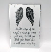 Load image into Gallery viewer, Condolence Mirror. Angel Wings Motif. 'Your Loved One Is With You Every Day.'