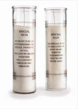 Load image into Gallery viewer, Memorial Grave Candle in Glass Holder. 'Special Dad ... Thoughts of You'.