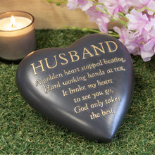 Load image into Gallery viewer, Thoughts of you Grave Marker Dark Grey Heart Memorial Stone - Husband