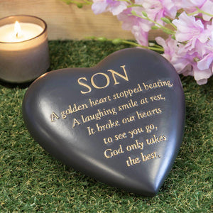 Outdoor Memorial Tribute. Black Heart Shaped Stone. 'Son'.
