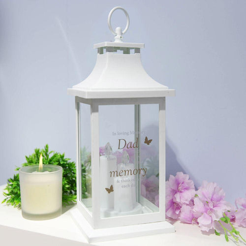 Thoughts of you Memorial Lantern in White- Dad I Miss You